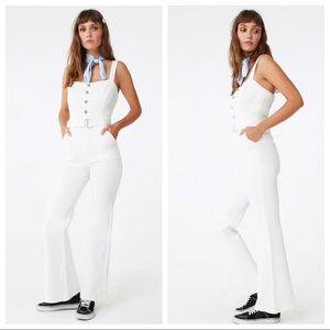 White denim flare jumpsuit